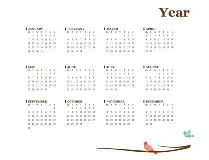 2018 yearly calendar (Sun-Sat)