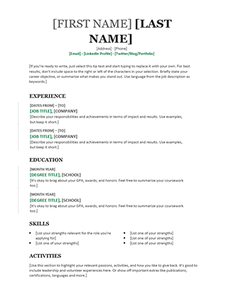 Chronological Resume (Modern design)