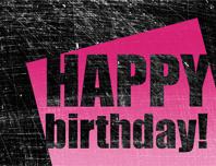 Birthday card, scratched background  (pink, black, half-fold)