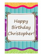 Birthday card - stars and stripes (kids, half-fold)