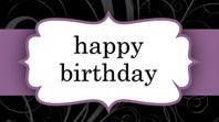 Birthday card (Purple Ribbon design, half-fold)
