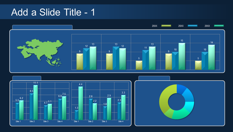 Global bar and pie chart dashboard