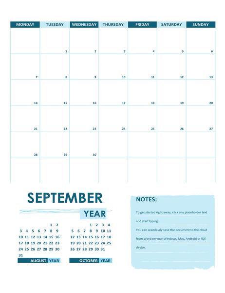 Academic calendar (one month, any year, Sunday start)