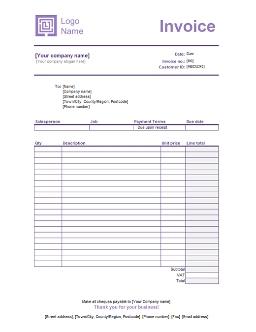 Service invoice (Simple Lines design)