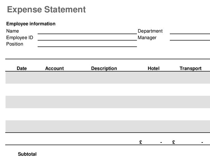 Travel expenses statement