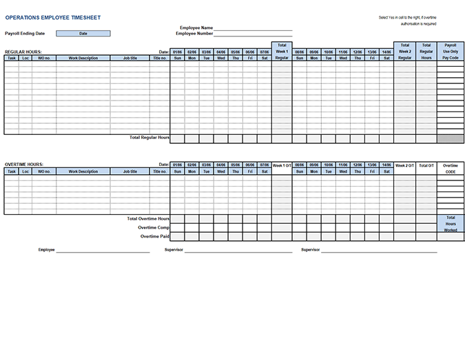 Operations employee timecard