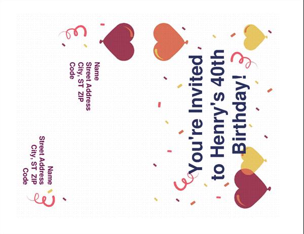 Birthday party invitation mailer needs no envelope