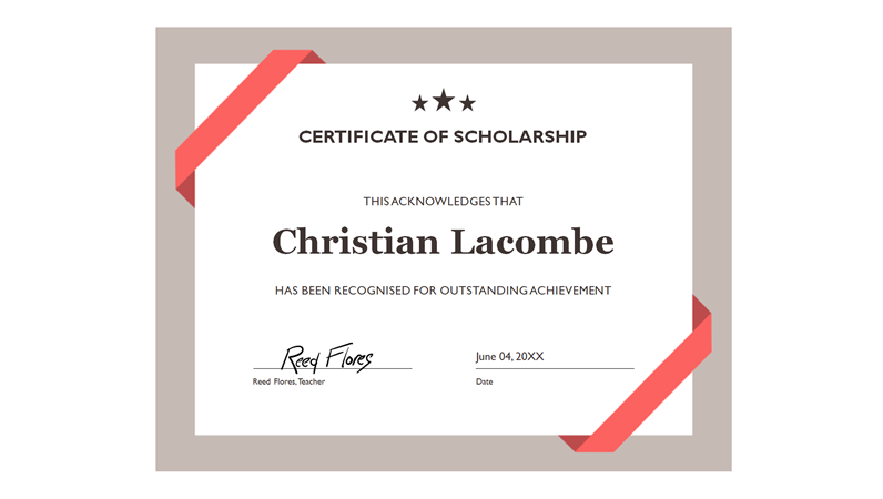 Certificate of Scholarship (formal blue border)