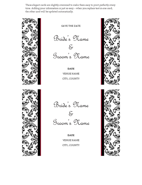 "Wedding ""Save the date"" card (black-and-white wedding design)"