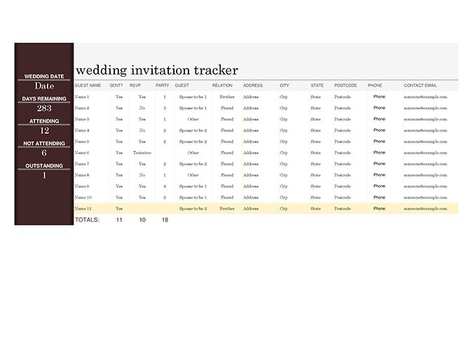 Wedding invitation tracker