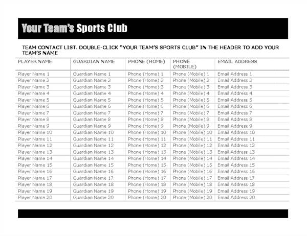 Contact list for sports team