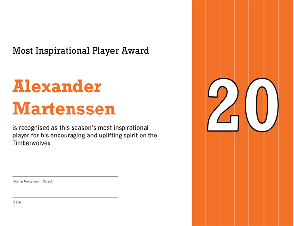 Most Inspirational Player award certificate (editable title)