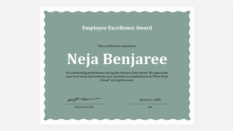 Certificate of employee excellence