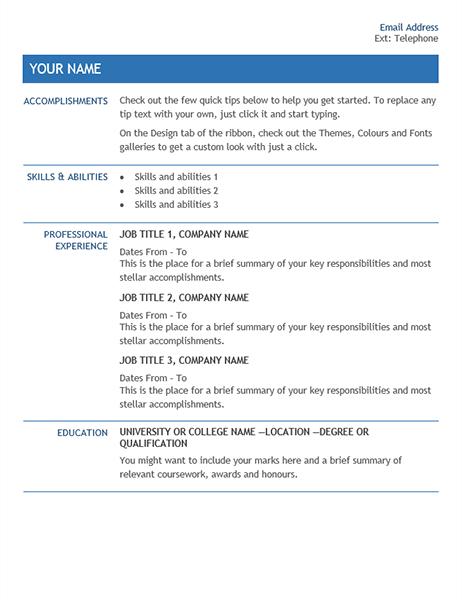 CV for internal company transfer
