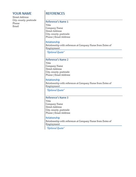 CV references