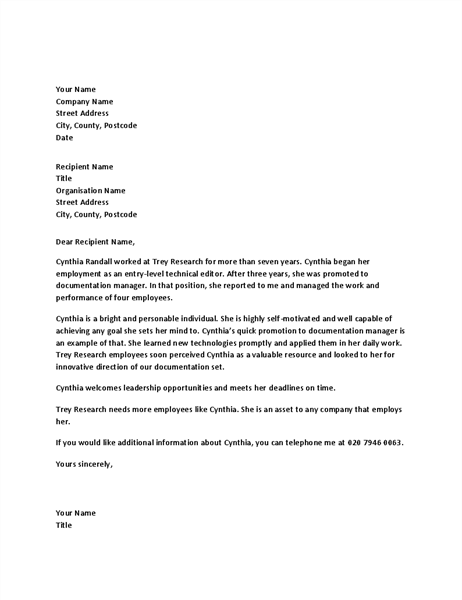 Reference letter for managerial employee
