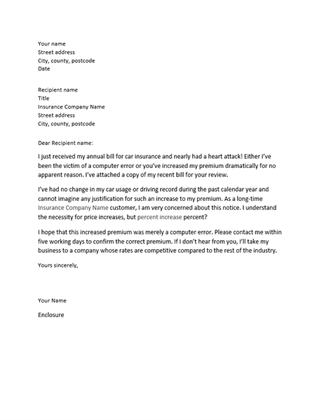 Letter of complaint about insurance premium increase