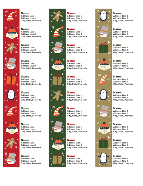 Address labels (Christmas Spirit design, 30 per page, works with Avery 5160)
