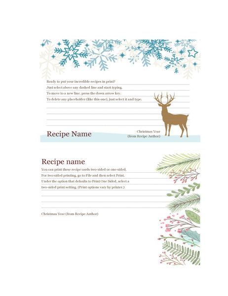 Recipe cards (Christmas Spirit design, works with Avery 5889, two per page)