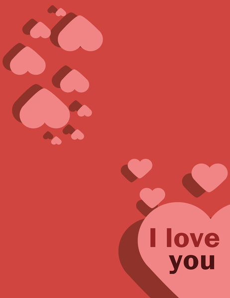 I Love You card (quarter-fold)