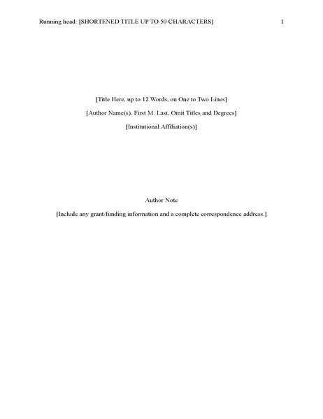 APA style report (6th edition)