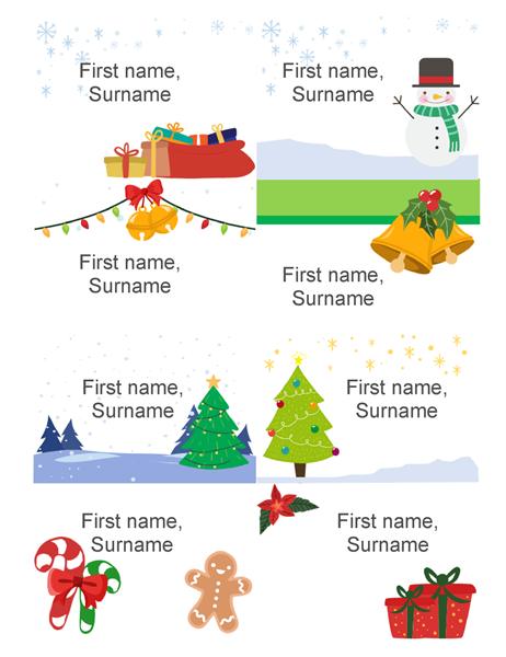 Christmas name badges (eight per page, Christmas spirit design, works with Avery 5395 and similar)