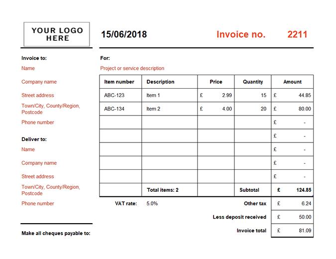 Invoice that calculates total (landscape)