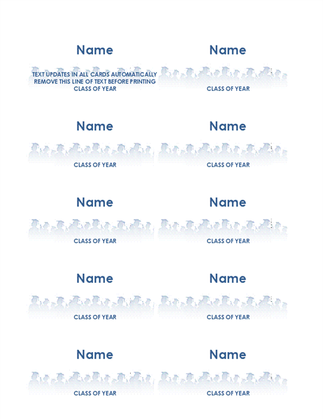 Graduate name cards (10 per page)
