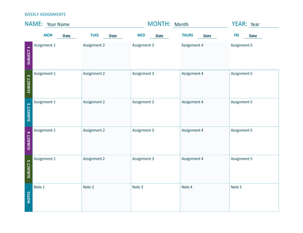 Weekly assignment sheet (colour, landscape)