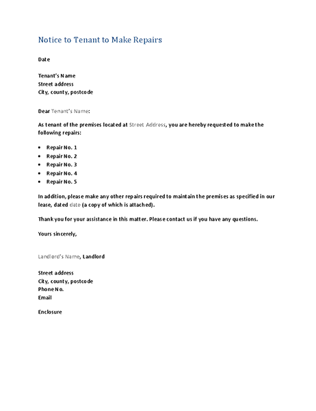 Notice to tenant to make repairs (form letter)
