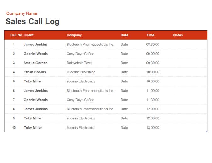 Sales call log and organiser