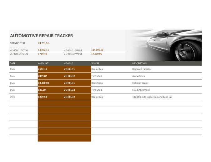 Car repair tracker