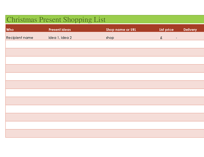 Christmas present shopping list