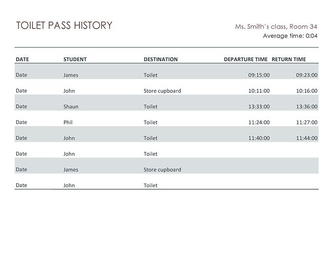 Student hall pass log