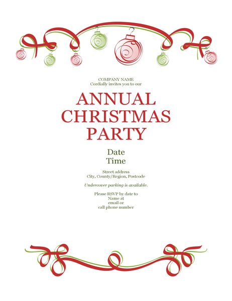 Holiday party invitation with ornaments and red ribbon (Formal design)
