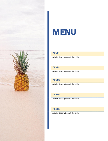 Party menu (sun and sand design)