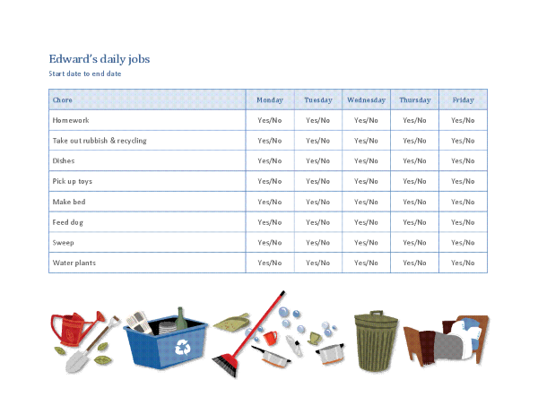 Checklist for a child's household jobs