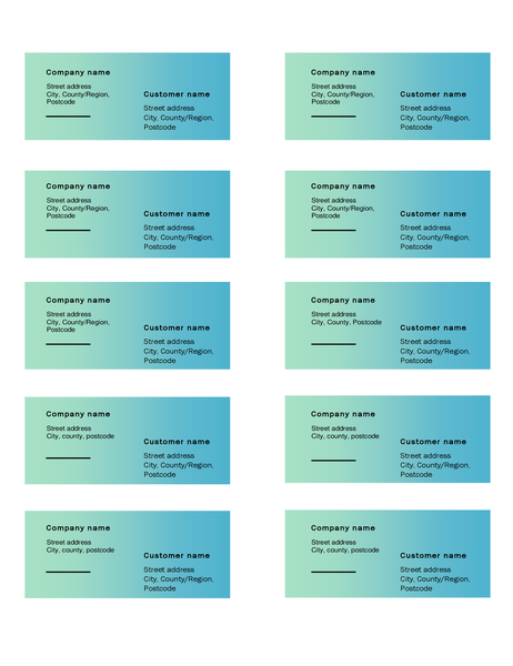 Shipping labels (Green Gradient design, 10 per page, works with Avery 5163)
