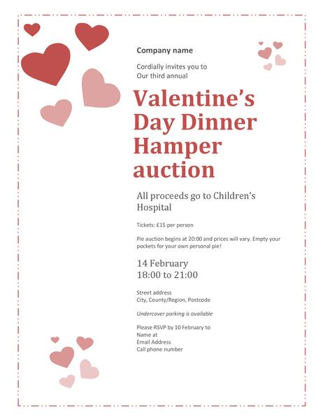 Valentine's Day sweetheart pie auction invitation