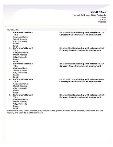 Entry-level CV reference sheet
