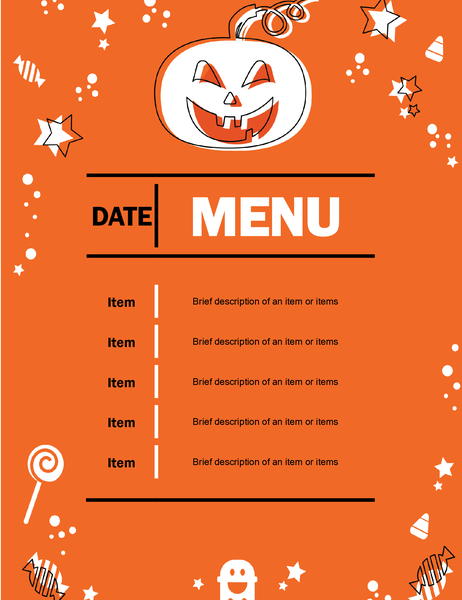 Halloween party menu