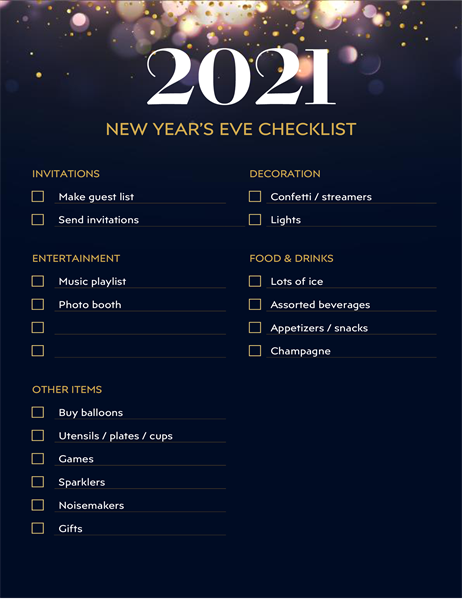 New Year's Eve party checklist