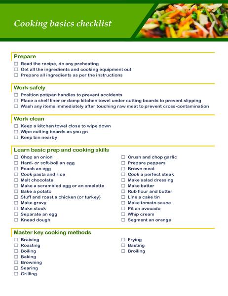 Cooking basics checklist