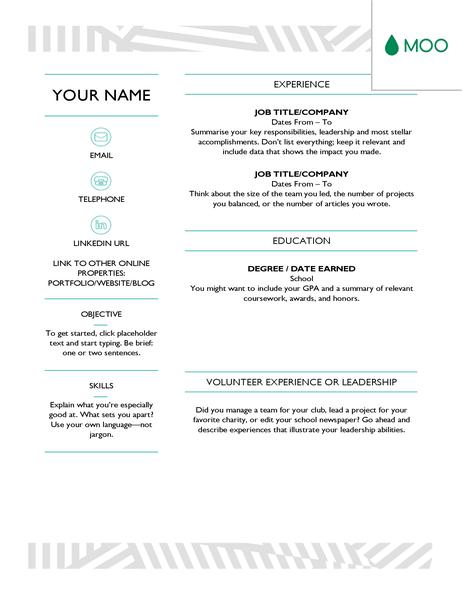 Creative CV, designed by MOO