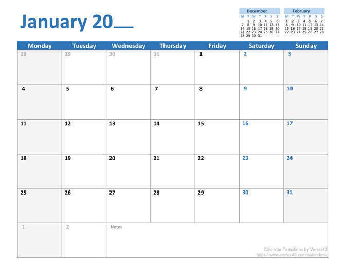 Any-year monthly calendar