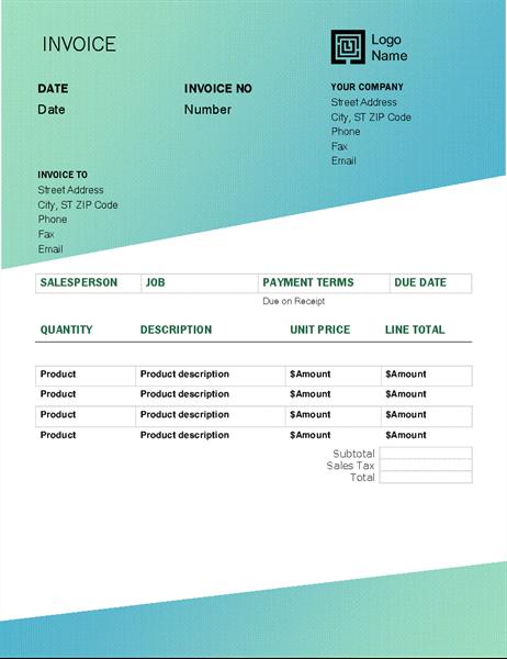 Service invoice (Green Gradient design)