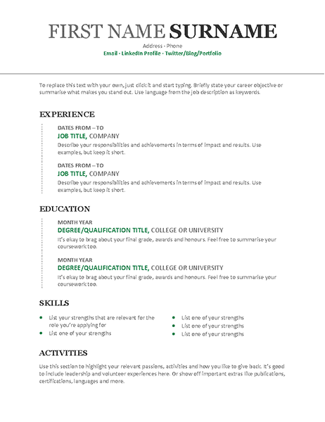 chronological cv  modern design
