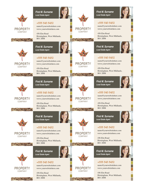 Property business card (10 per page)