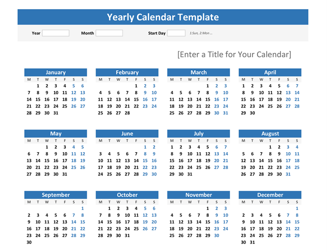 Any year at a glance calendar (landscape)
