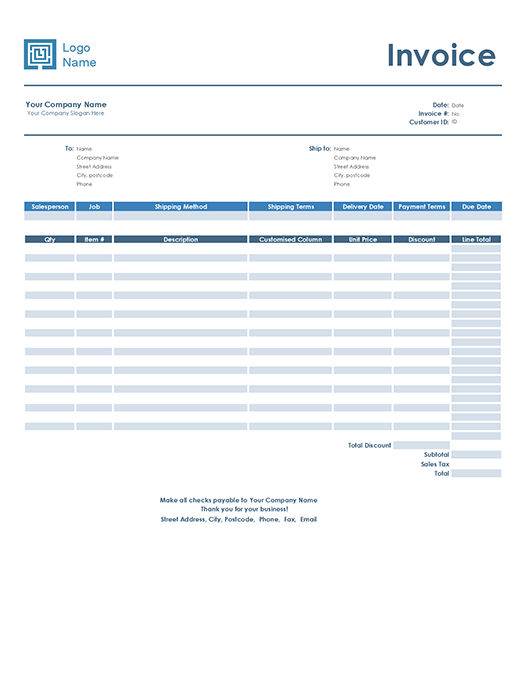 Sales invoice (Simple Blue design)